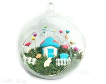 Little Fairy Bloom in Globe with Smurf inspired house - Little Fairy Garden - Real Terrarium. Unique Home Decor. Home Decor