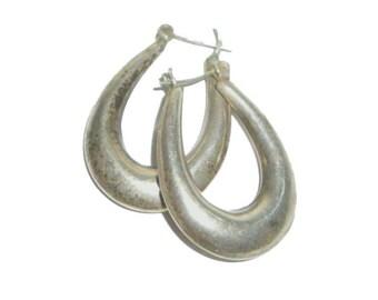 Hoop Earrings - Silver - Dark Silver - Gunmetal Silver - Puff Pillow Hoop