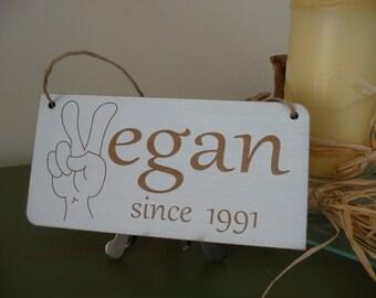 Personalised Vegan Sign, Custom Vegan Wall Sign, Vegan Wooden Sign, Vegan Home Decor, Personalised Vegan Gift, 6 Variations Option
