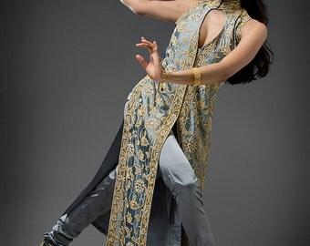 Spirit Evening Formal Dress, Custom Made Elegant Indian Gold Embroidered Dress, Bridal, Wedding, And Special Occasion