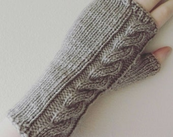 Hand knit chunky fingerless gloves with cable