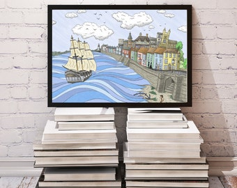 New for 2016 - Historic Hartlepool art print - celebrating HMS Trincomalee - From Seaham England