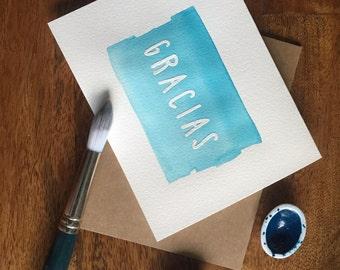 Watercolor Gracias Card
