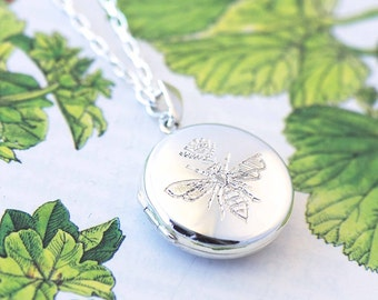 Silver Queen Bee Locket, silver locket, engraved locket, UK seller