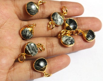 6 Pcs Zebra Jasper Heart Connector with 24K Gold Electroplated Edge & Capped, Gemstone Double Loop Pendant or Single Loop Charm EHP18