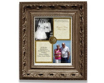 50th Wedding Anniversary Gift - Couple Golden Anniversary Print - Then and Now Photo Gift - 50th Wedding Anniversary - Personalised Print
