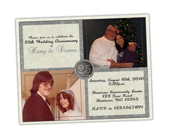 25th Wedding Invitations: Silver Anniversary Party Invitation 25th Wedding Anniversary