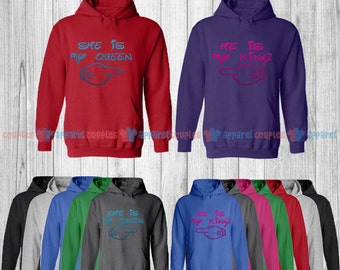 He is My King & She is My Queen - Matching Couple Hoodie - His and Her Hoodies - Love Sweaters