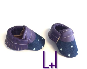 Heart Moccasins | ANY COLOR Faux Leather Handmade Moccasins | Baby Girl Moccasins | Baby Shoes | Baby Booties | Toddler shoes | Baby Moc