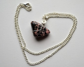 Wire Wrapped Rhodonite Necklace