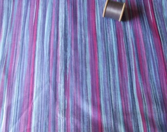 vintage length of purple and grey striped dressmaking fabric