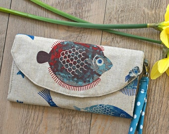 Women's Fabric Wallet - Fish Design Ladies Large Wallet - Polka Dots Women's Organizer Wristlet Wallet