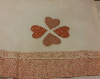 Vintage Pink Heart Tea Towel