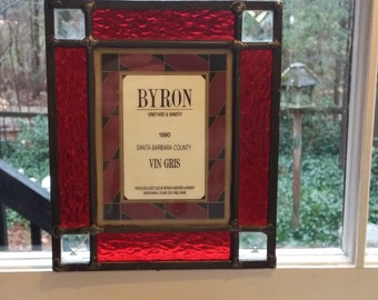 Vintage 1990 Byron Vineyard and Winery Santa Barbara County Vin Gris Stained Glass
