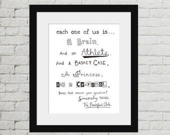 The Breakfast Club Hand Drawn Movie Quote Print. Brain Athlete Basket Case Princess Criminal. John Hughes