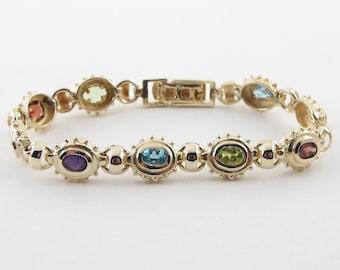 "14k Yellow Gold Multi Color Rainbow Gemstones Vintage Style Bracelet 7 1/2"" 24.1 grams"