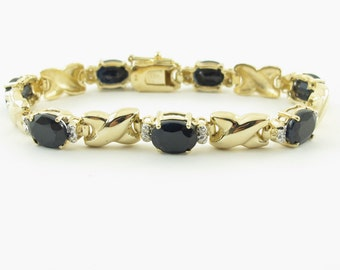 14k Yellow Gold Diamond And Sapphire bracelet, 14k  Natural Blue Sapphire Bracelet, Gemstones bracelet