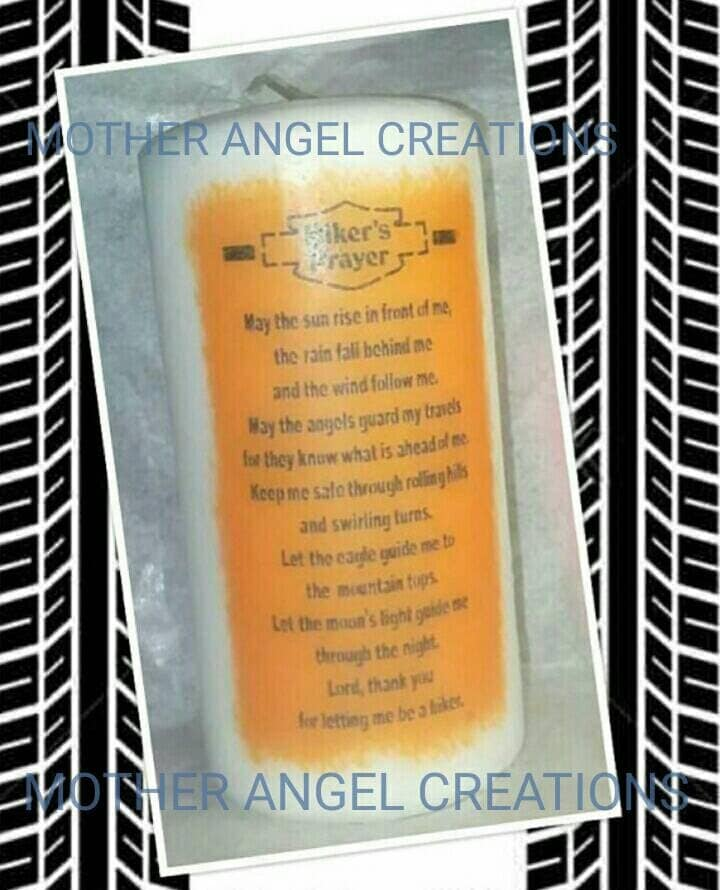 Bikers Prayer Candle Choice Of Background Color