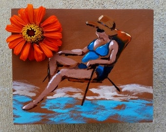 Jewelry box for mom, woman sunbathing, beach lover gift ideas, hand-painted jewelry boxes, sun hat, lounge chair, gifts for girlfriend beach
