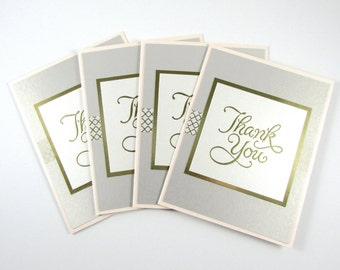 Thank You Cards, SET OF 4, Note Cards, Stationery, Handmade, Blank Inside