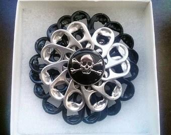 Skull hair pin | soda tab | handmade | upcycle | READY TO SHIP