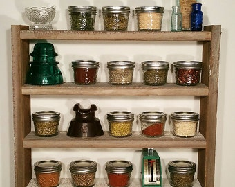 Rustic Spice Rack, Barn wood, Country Chic Spice Rack, Wood Spice Rack, Storage Rack, Spice Shelf, Weathered Wood