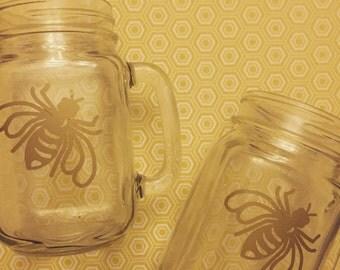 Glass Bee mason jar cup