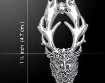 Celtic Pagan God Cernunnos Silver Pendant (Sterling Silver)