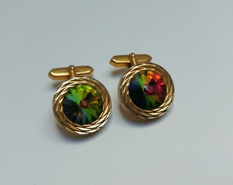 Sparkly vintage cufflinks carnival glass