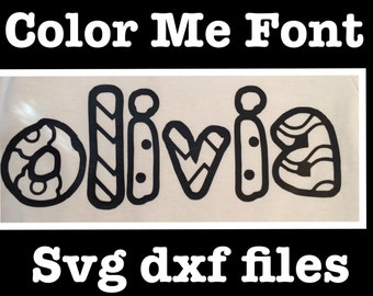 Color me font for silhouette cameo dxf svg