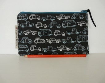 Oldtimers pencil case, Boys pencil case, Small pouch, Oldtimer pouch, Gadget pouch, supply case for kids, School supplies, Cars, Geek bag
