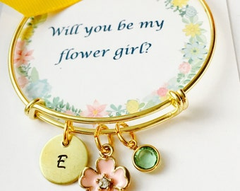 Will you be my flower girl, Child Adjustable Bangle Bracelet, Flower Girl Bracelet, Personalized Initial Bracelet, Little Girls Bracelet