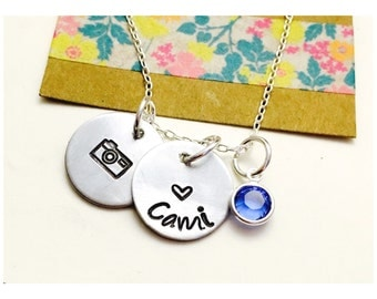 Camera Necklace, Camera Necklace - Photographer Gift-  -Hand stamped Jewelry - Photography