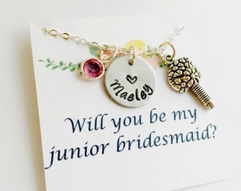 Junior Bridesmaid Necklace, Junior Bridesmaid Gift, Wedding Necklace, Wedding Jewelry, Hand Stamped, Will you be my junior bridesmaid
