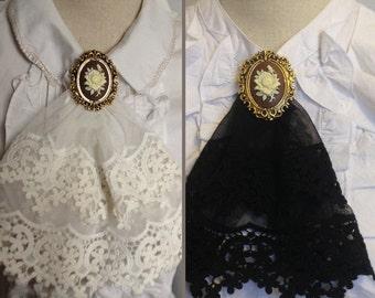 white or black lace jabot, cameo, Rococo, baroque, Renaissance, Victorian, steampunk, lolita, gothic