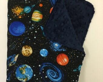 Space Baby Blanket, Gender Neutral Minky Blanket, Lovey, Nursery Bedding, Solar System, Planets, Science Geek, Navy Minky