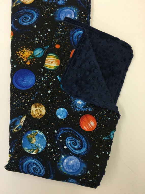Space baby blanket gender neutral minky blanket lovey for Space themed fleece fabric