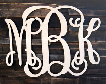 Wooden Monogram - Unfinished Vine Script Monogram - Wood Monogram - Monogram Wall Hanging - Monogram Home Decor