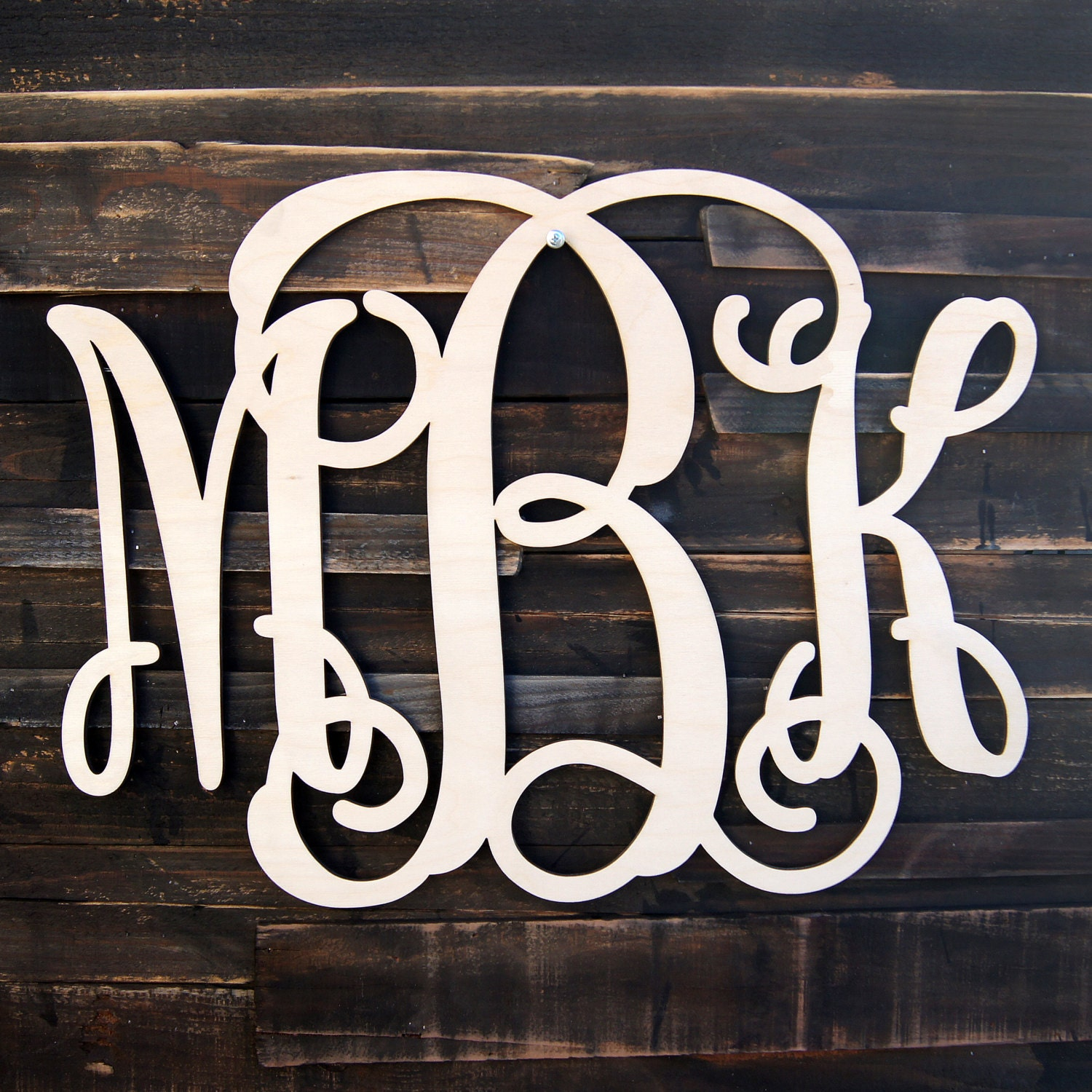 Wooden monogram unfinished vine script monogram wood for Monogram homes