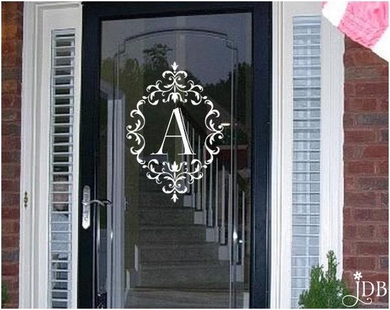 Personalized monogram glass storm door decal door decal for Vinyl storm doors