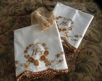 Vintage Mr & Mrs 1950s Pillowcases