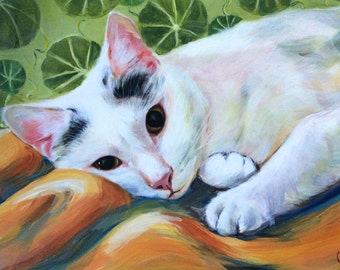 """White Kitty, 9 x 12"""", print"""