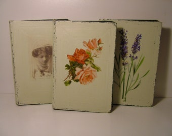 """Three Antique """"Works of William Makepeace Thackary"""" Painted Covers"""
