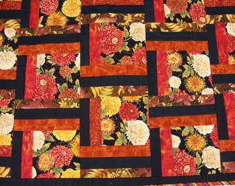 Throw Quilt Floral Quilt Fall Colors Orange and Black Quilt