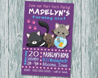Cats Kittens Birthday Invitation Digital File Print at Home