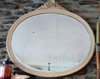 Mirror - Oval Vintage Wall Mirror  - Painted & Distressed - Great Shabby Chic Mirror