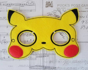 POKEMON PIKACHU inspired mask ITH Project In the Hoop Embroidery Design Costume, Cosplay, Fancy dress, Masquerade, Photo booth, Prop.