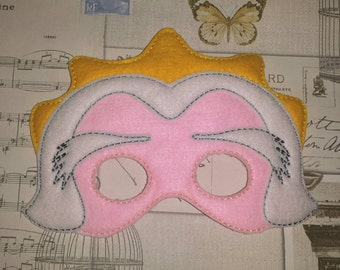 Little Princess Mermaid inspired mask ITH Project In the Hoop Embroidery Design Costume, Cosplay, Fancy dress, Masquerade, Photo booth, Prop