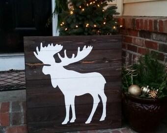 24x24 Wood Wall Art - Moose Silhouette