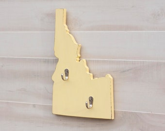 Idaho or any US state shape wood cutout sign home organizer wall art with key hooks. College Dorm Office Country Decor. 35 colors